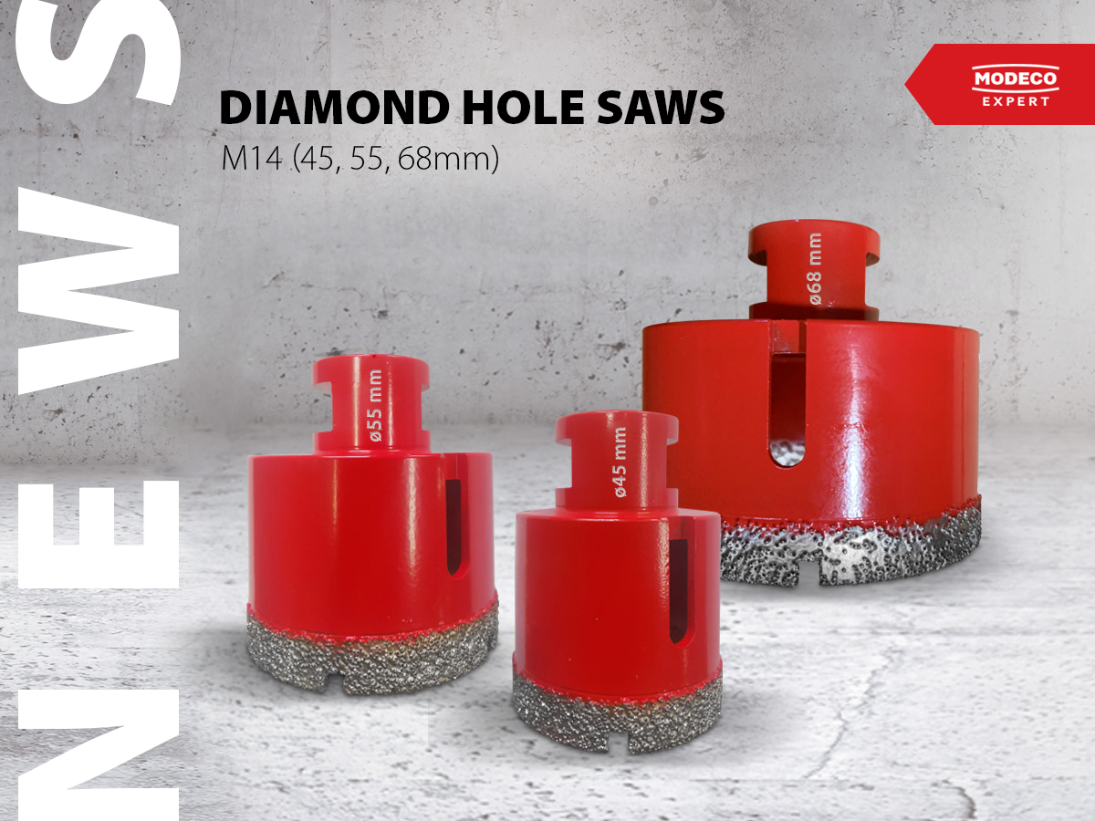 New diamond holesaws with larger diameters of 45, 55, 68 mm